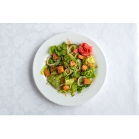 Салат с лососем и баклажаном